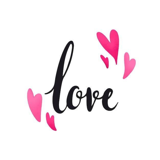 Miłość, typografia ozdobiona wektor serca Darmowych Wektorów