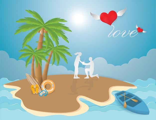 Miłość walentynki z parą proponuje na plaży w wyspy lata tle. Premium Wektorów