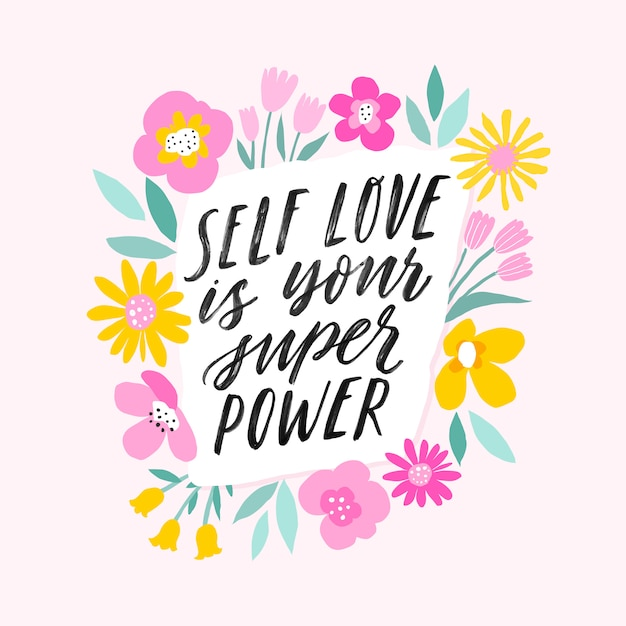 Miłość własna to twoja super moc ręcznie napisane inspirujące litery. Premium Wektorów