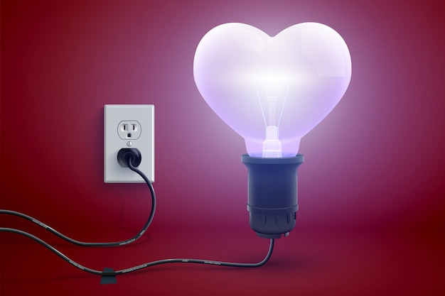Miłosny Jasny Plakat Miłosny Z Realistycznym świeceniem Podłączonym Do Elektrycznej żarówki W Kształcie Serca Darmowych Wektorów