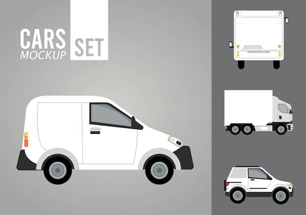 Mini Van Biały I Makieta Pojazdów Premium Wektorów