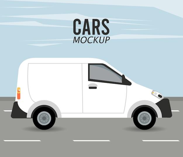Mini Van Makieta Samochodu Na Drodze Premium Wektorów