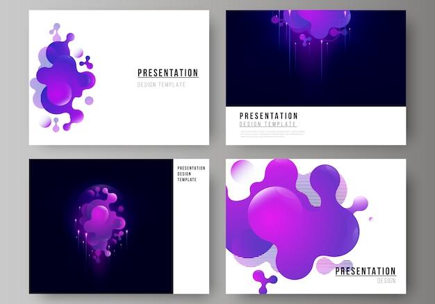 Minimalistyczna Abstrakcyjna Ilustracja Edytowalnego Układu Szablonów Prezentacji Slajdów Projektowych. Premium Wektorów