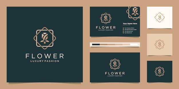 Minimalistyczna Elegancka Róża Kwiatowa Luksusowy Salon Kosmetyczny, Moda, Pielęgnacja Skóry, Kosmetyki, Produkty Do Jogi I Spa. Projekt Logo I Wizytówki Premium Wektorów
