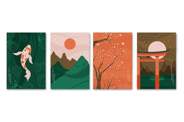 Minimalistyczna Japońska Kolekcja Okładek Darmowych Wektorów