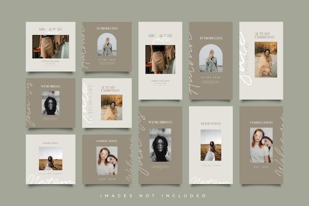 Minimalistyczna Kolekcja Szablonów Postów I Historii W Mediach Społecznościowych Premium Wektorów