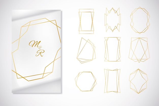 Minimalistyczna kolekcja złotej ramki wielokąta Darmowych Wektorów