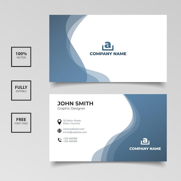 Minimalistyczna Wizytówka. Gradient Niebieski I Biały Kolor Poziome Proste Czyste Szablon Wektor Wzór Premium Wektorów