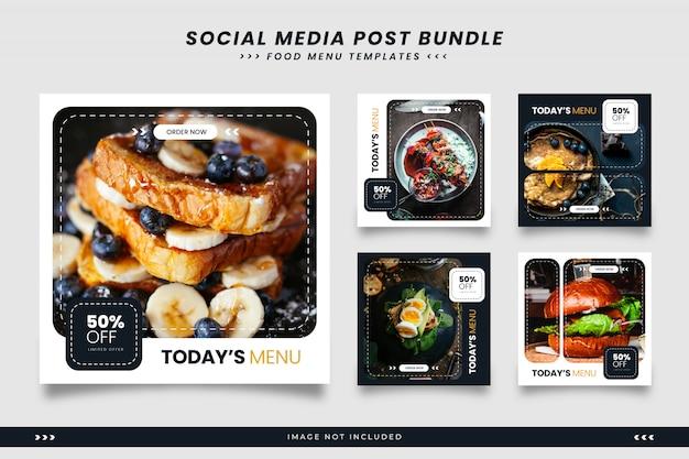 Minimalistyczne Czarno-białe Menu żywności Szablony Mediów Społecznościowych Premium Wektorów