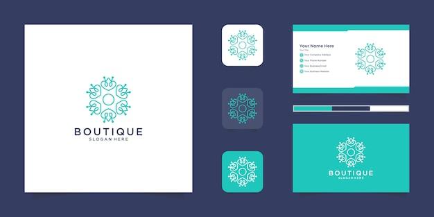 Minimalistyczne Eleganckie Kwiatowe Logo Dla Urody, Kosmetyków, Jogi I Spa. Projekt Logo I Wizytówki Premium Wektorów