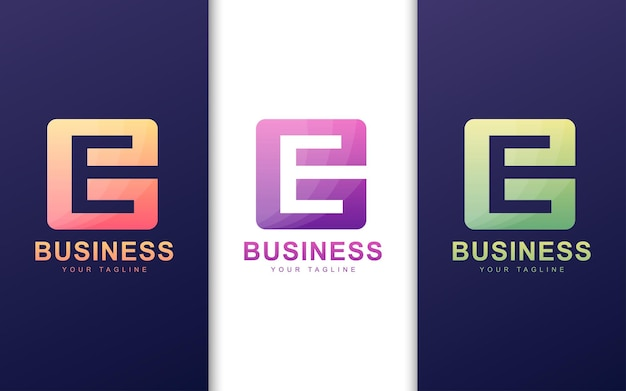 Minimalistyczne Logo Litery E W Kształcie Kwadratu Z Abstrakcyjną Koncepcją Premium Wektorów