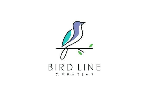 Minimalistyczne logo ptaka Premium Wektorów