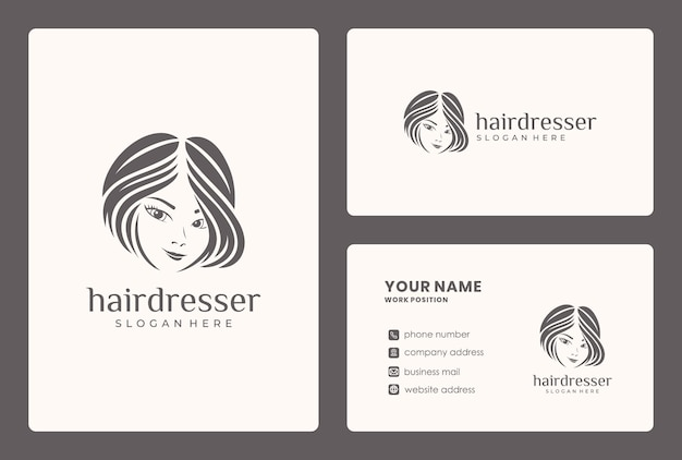 Minimalistyczne Logo Urody Włosów Desgn. Logo Może Być Używane Do Salonu Kosmetycznego, Sklepu Do Pielęgnacji Skóry. Premium Wektorów