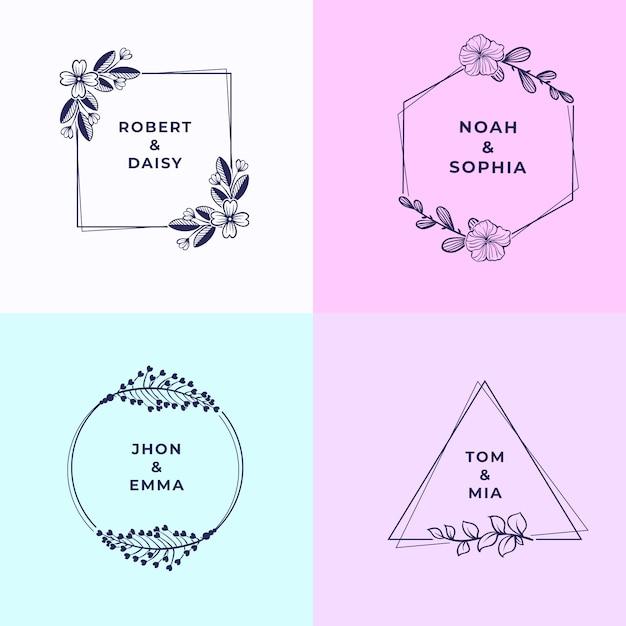 Minimalistyczne monogramy ślubne w pastelowych kolorach Darmowych Wektorów