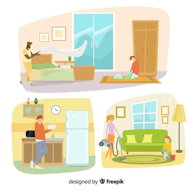 Minimalistyczne postacie wykonujące prace domowe Darmowych Wektorów