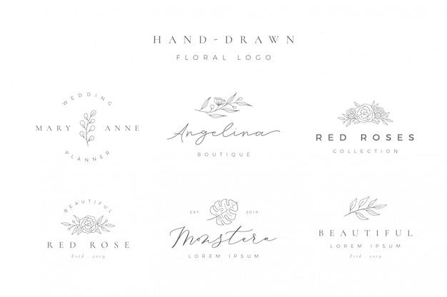 Minimalistyczne ręcznie rysowane kwiatowy logo Premium Wektorów