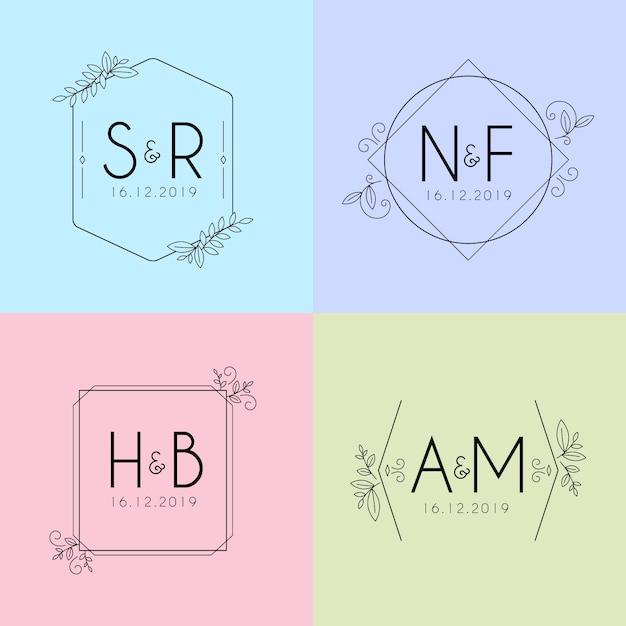 Minimalistyczne ślubne monogramy w pastelowych kolorach Darmowych Wektorów