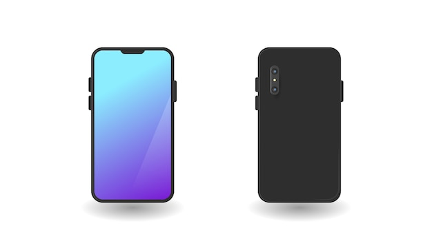 Minimalistyczne Smartfony Do Prezentacji Na Białym Tle Premium Wektorów