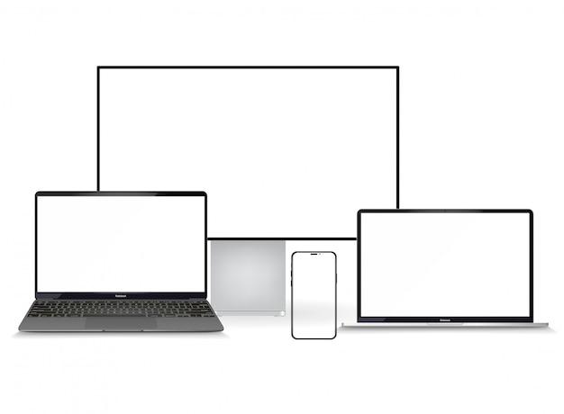Minimalistyczne Urządzenie 3d Izometrycznej Ilustracji. Widok Perspektywiczny Smartfona, Laptopa, Tabletu, Telewizora. Widok Z Boku Iz Góry. Ogólne Urządzenie. Szablon Do Infografiki Lub Prezentacji Premium Wektorów
