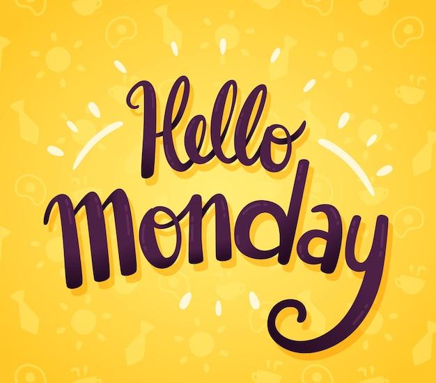 Minimalistyczne Witaj W Poniedziałek Tło Darmowych Wektorów