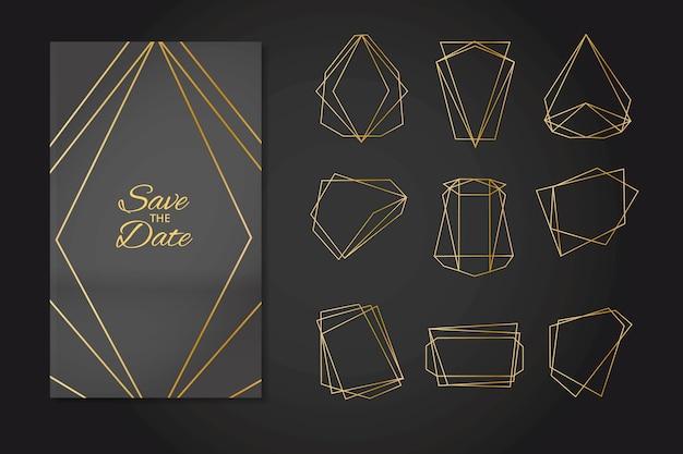 Minimalistyczne złote wielokąty ozdoby ślubne Darmowych Wektorów