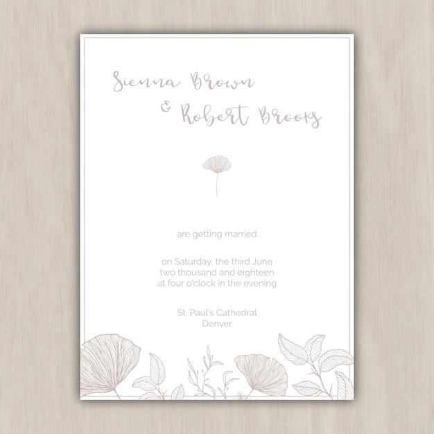 Minimalistyczny Beżowy Zaproszenie Na ślub Z Ręcznie Rysowanych Elementów Darmowych Wektorów