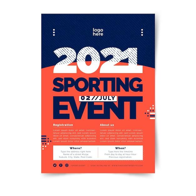 Minimalistyczny Dwukolorowy Sport Plakat Szablon Darmowych Wektorów