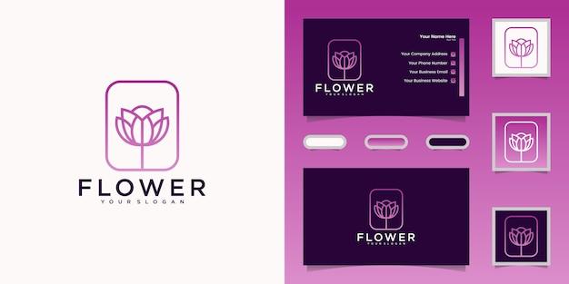 Minimalistyczny Elegancki Styl Grafiki Linii Kwiat Róży. Projekt Logo I Wizytówka Premium Wektorów