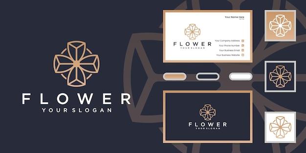 Minimalistyczny Elegancki Styl Grafiki Linii Kwiat Róży. Projekt Logo I Wizytówki Premium Wektorów