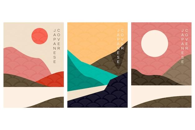 Minimalistyczny Japoński Styl Kolekcji Okładek Darmowych Wektorów