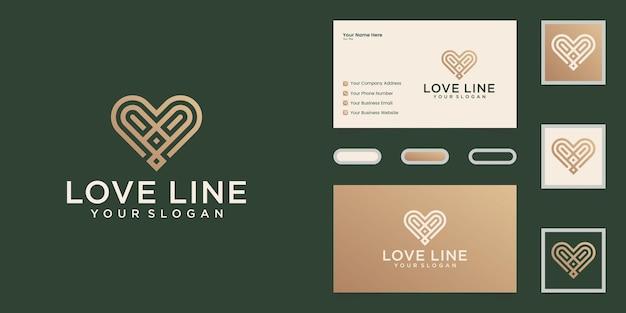 Minimalistyczny Miłość Logo Szablon Projektu Linii Sztuki I Wizytówka Premium Wektorów