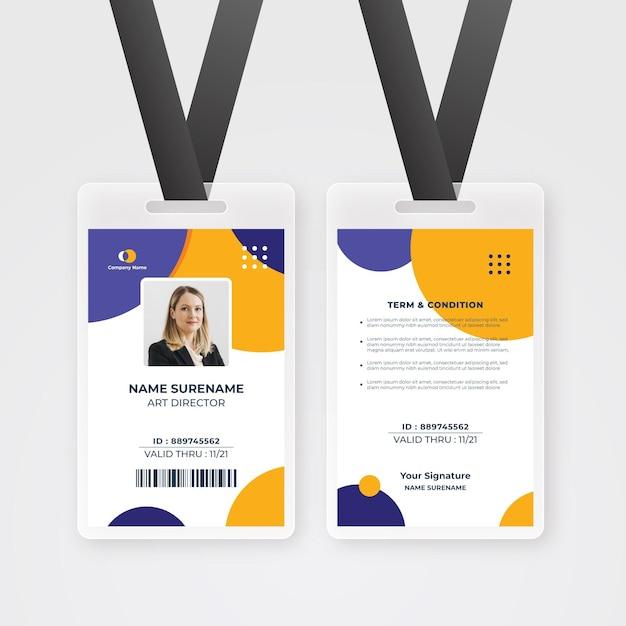 Minimalistyczny Szablon Karty Identyfikacyjnej Pracownika Ze Zdjęciem Darmowych Wektorów