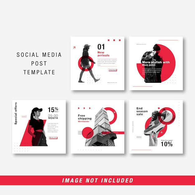 Minimalistyczny szablon mediów społecznościowych Premium Wektorów