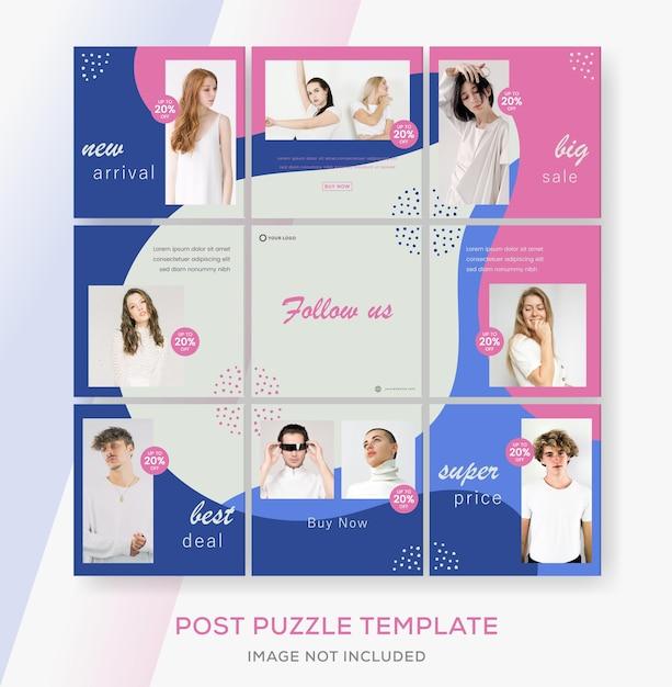Minimalistyczny Szablon Transparentu Sprzedaży Mody Dla Postu Puzzli Mediów Społecznościowych. Premium Wektorów