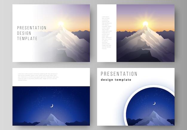 Minimalistyczny Układ Ilustracji Abstrakcyjnych Wektorów Slajdów Prezentacji Premium Wektorów