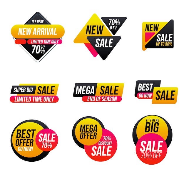 Minimalistyczny zestaw etykiet sprzedaży Darmowych Wektorów