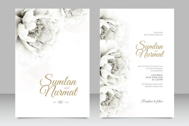 Minimalistyczny Zestaw Kart ślubnych Szablon Z Akwarela Piwonie Premium Wektorów