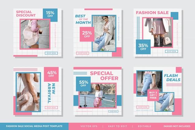Minimalistyczny zestaw szablonów kwadratowych transparent moda Premium Wektorów