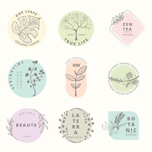 Minimalna kolekcja logo naturalnego biznesu Darmowych Wektorów
