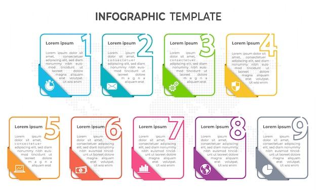 Minimalne elementy infographic szablon, 9 opcji. Premium Wektorów