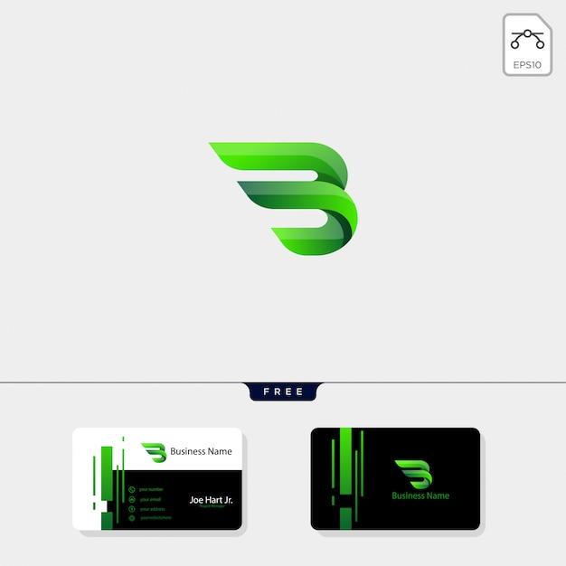 Minimalne początkowe logo kreatywne b wings Premium Wektorów