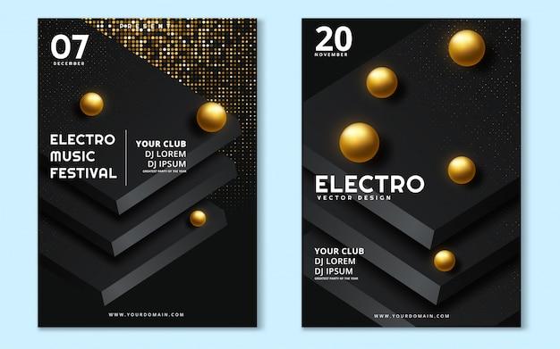 Minimalny plakat festiwalu muzyki elektronicznej Premium Wektorów