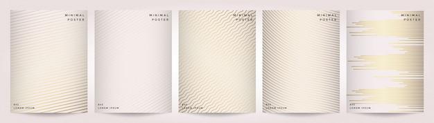 Minimalny Projekt Okładek. Abstrakcjonistyczny Geometryczny Tło Z Liniami. Złota Tekstura. Premium Wektorów