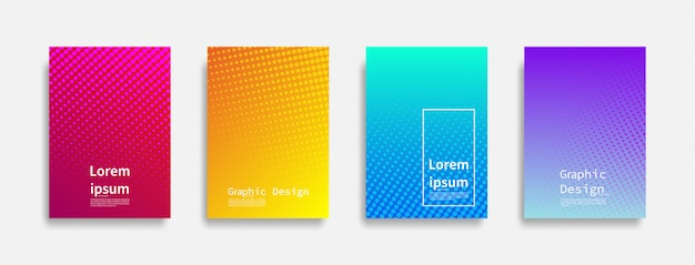 Minimalny Projekt Okładek. Kolorowe Kropki Rastra. Przyszłe Wzory Geometryczne. Premium Wektorów