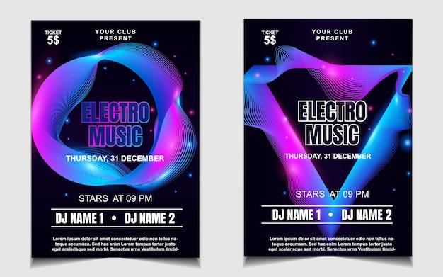 Minimalny Szablon Plakatu Na Festiwal Muzyki Electro Z Kolorowym światłem Premium Wektorów