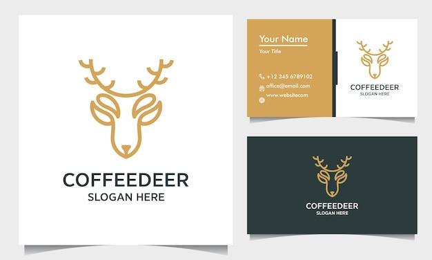 Minimalny Szablon Projektu Logo Konspektu Jelenia Z Wizytówką, Inspiracja Logo Jelenia Kawowego Premium Wektorów