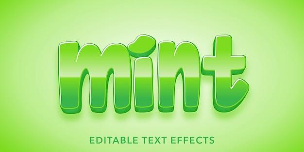 Mint Tekst 3d Edytowalny Efekt Tekstowy Premium Wektorów