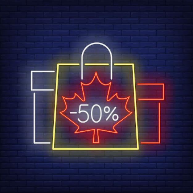 Minus Pięćdziesiąt Procent Neonowych Liter Z Torbami Na Zakupy I Pudełkami Darmowych Wektorów