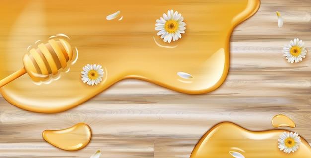 Miód Kapie Z łyżki Na Drewnianej Teksturze Z Dekoracją Z Rumianku Darmowych Wektorów