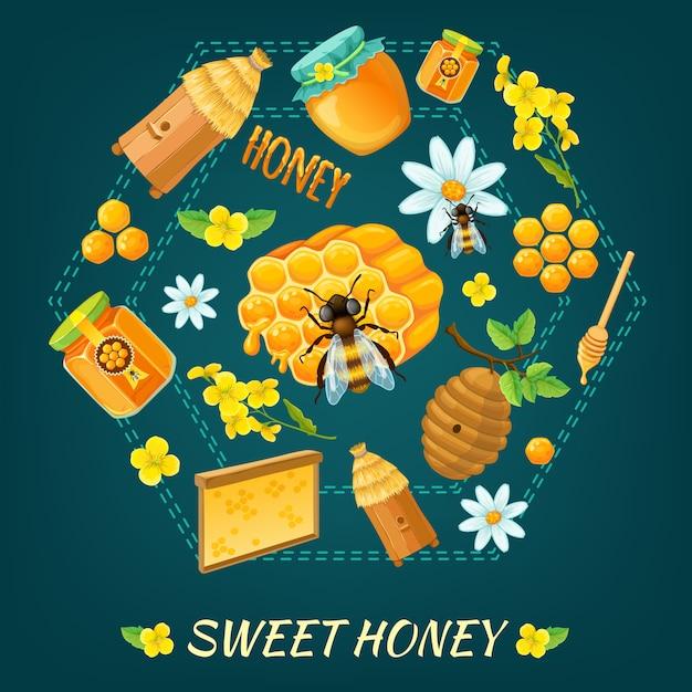 Miód Okrągły Kompozycja Z Miodowymi Kwiatami I Pszczołami Motywy Ilustracji Wektorowych Darmowych Wektorów